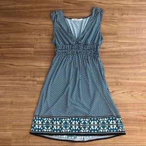 Blue Patterned Fitted Waist Sleeveless Dress